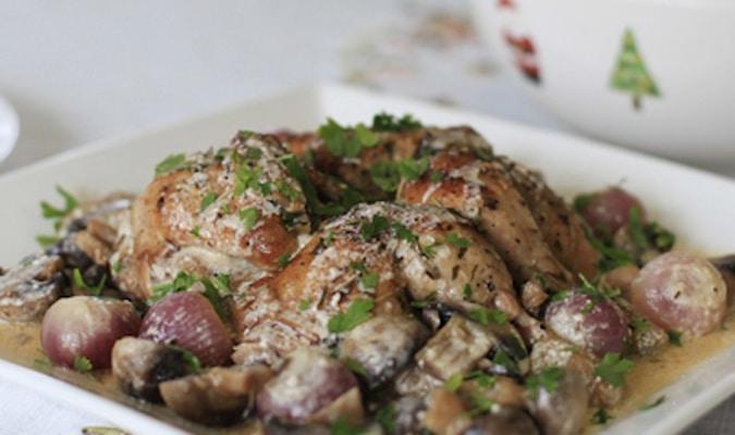 Pollo in salsa di vino bianco e funghi