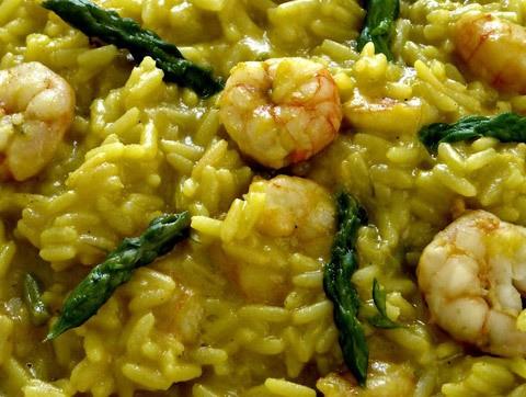 ricetta riso curry asparagi gamberi funghi champagne