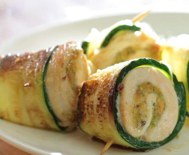 Involtini di zucchine con pollo e pistacchio